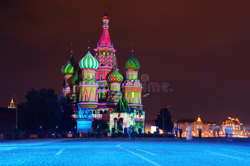 Illuminated St. Basil Cathedral at night in Red Square royalty free stock photos