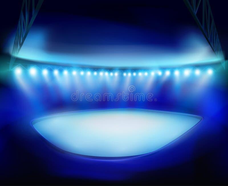 Illuminated stadium. Vector illustration. royalty free illustration