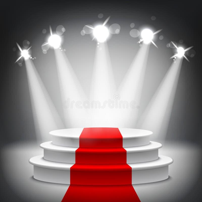 Illuminated stage podium red carpet award ceremony vector. Illuminated stage podium with red carpet for award ceremony vector illustration stock illustration