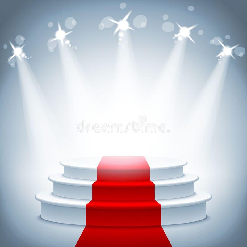 Illuminated stage podium red carpet award ceremony vector illustration. Illuminated stage podium with red carpet for award ceremony vector illustration vector illustration