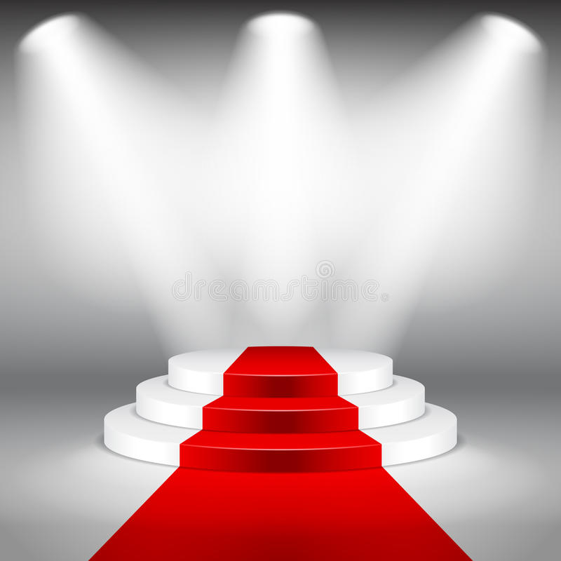 Illuminated stage podium with red carpet vector. Illuminated stage podium with red carpet photo realistic vector background royalty free illustration