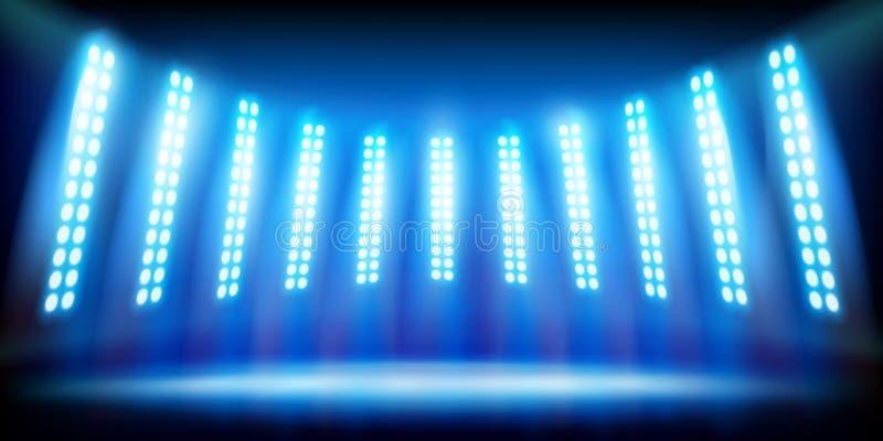 Illuminated stage on the stadium before the match. Vector illustration. vector illustration