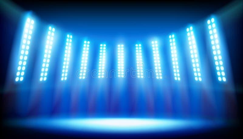 Illuminated stage on the stadium. Vector illustration. stock illustration
