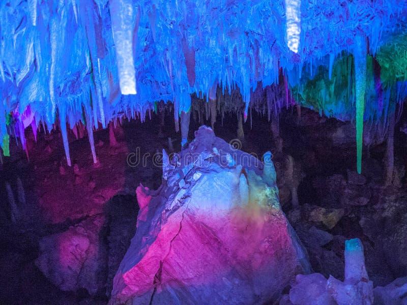 Illuminated Stalactites and stalagmites in Ngilgi cave in Yallingup. 2016 stock images
