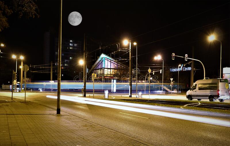Illuminated Street Lights at Night royalty free stock image