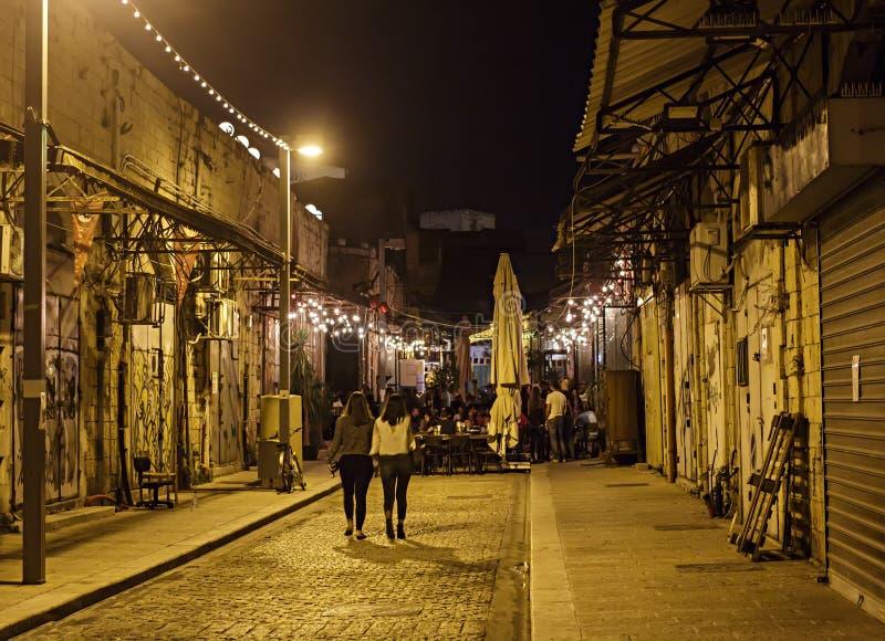 Illuminated street of old Jaffa stock photography