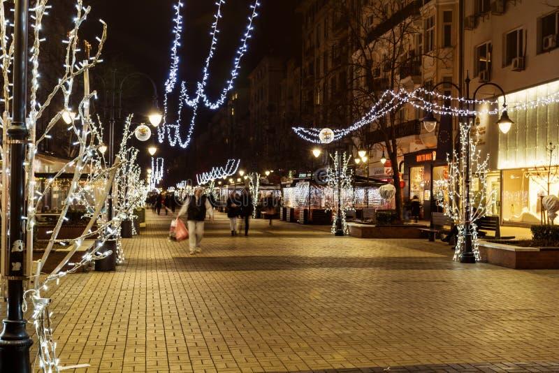 Illuminated street in Sofia at night royalty free stock photography