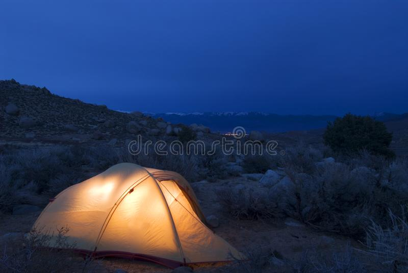 Illuminated tent royalty free stock photos