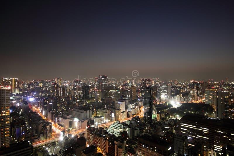 Illuminated Tokyo skyline during sunset royalty free stock photography