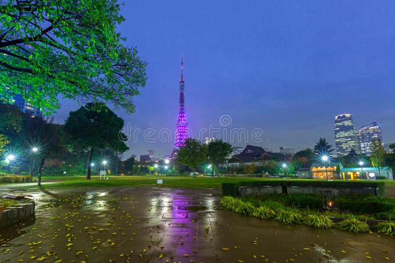 Illuminated Tokyo tower in the park at night stock photos