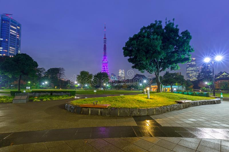 Illuminated Tokyo tower in the park at night stock photography
