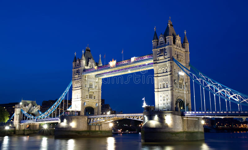 Illuminated Tower Bridge during the Blue Hour stock photography