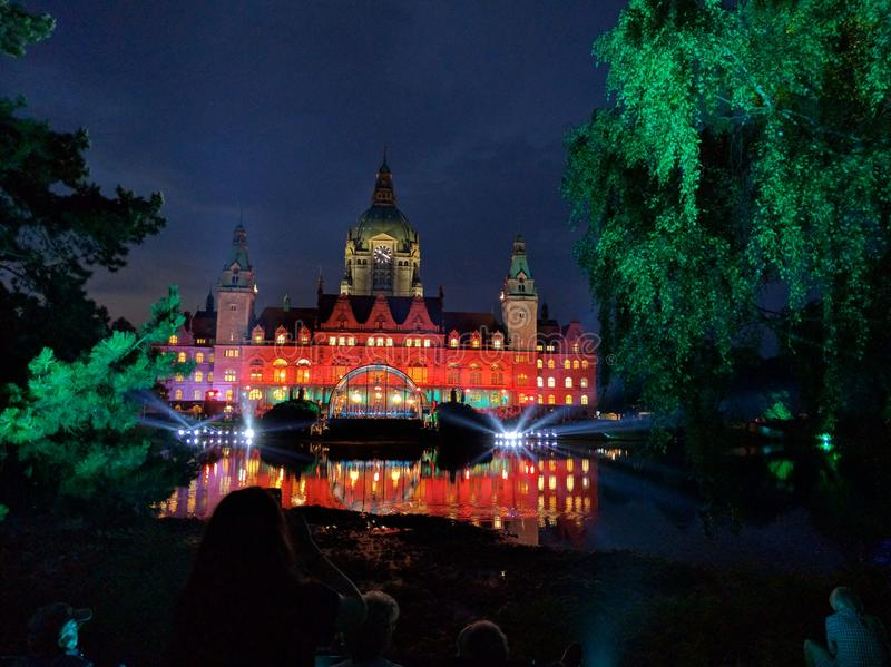 Illuminated town hall hannover stock photography