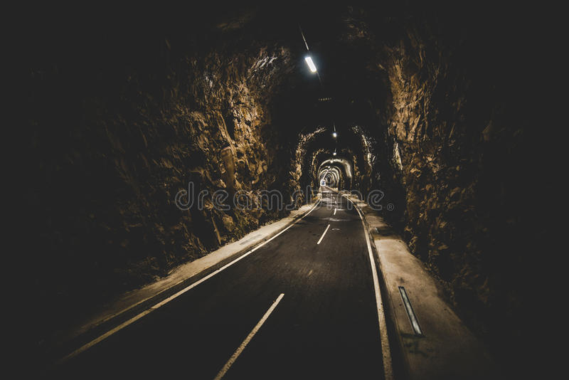 Illuminated tunnel for runners bikers and walkers stock photo