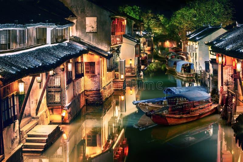 Illuminated Zhouzhuang water town at night, Jiangsu, China. Night view of illuminated Zhouzhuang water town, Jiangsu, China stock photography