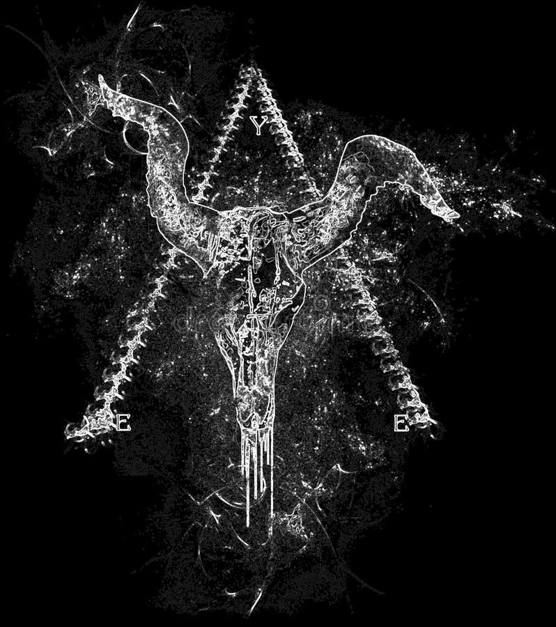 illuminati公牛在抽象金字塔背景中倒置的头骨设计的眼睛 向量例证