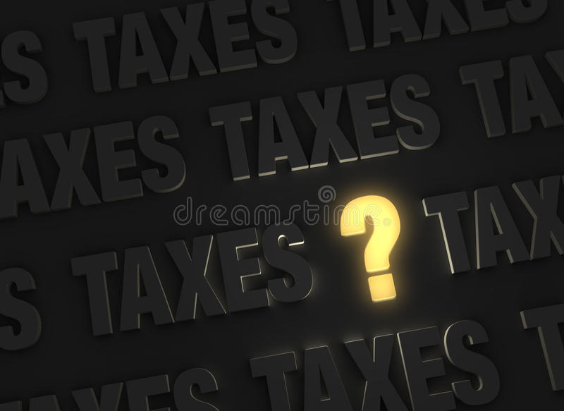 An Illuminating Question About Taxes. A bright, glowing yellow question mark stands out in a dark field of gray TAXES royalty free illustration