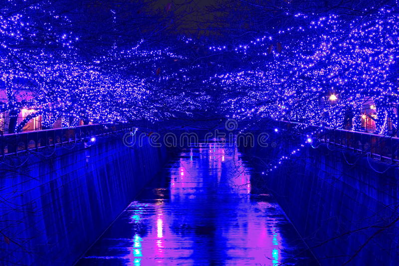 Illumination bleue de Noël de Tokyo image libre de droits