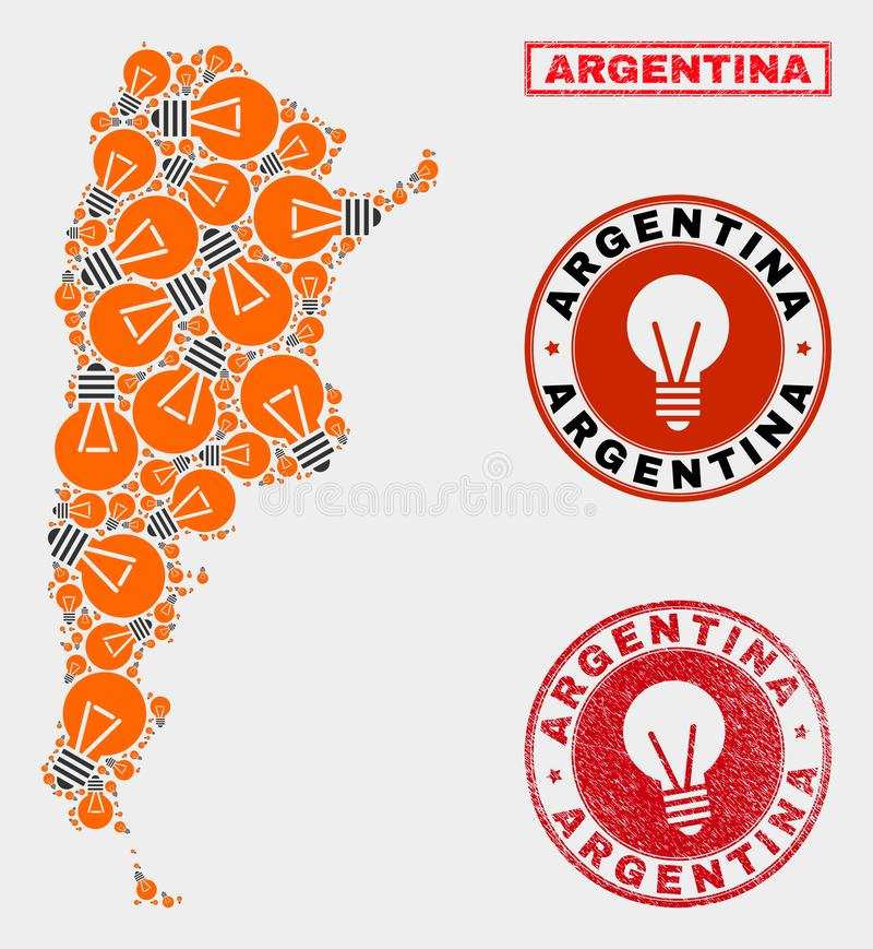 Illumination Bulb Mosaic Argentina Map and Grunge Stamp Seals. Illumination bulb mosaic Argentina map and rubber round stamp seals. Mosaic vector Argentina map vector illustration