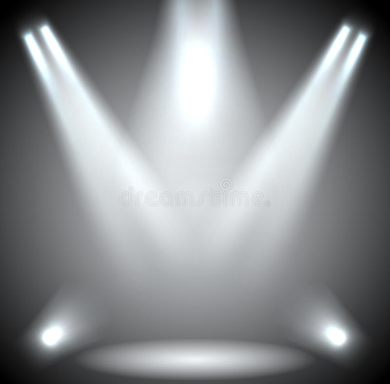 Illumination de scène. Éclairage de fond avec des projecteurs. illustration de vecteur
