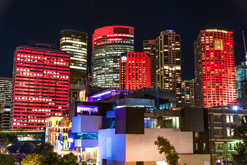 Illumination of Sydney CBD skyscrapers and Museum of Contemporary Art royalty free stock photography