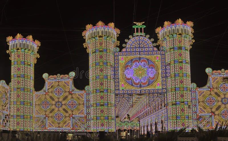 Illuminations Patron Saint Festival Stock Photography
