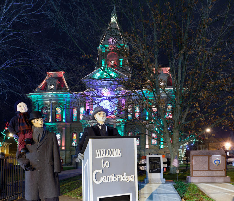 Illuminazione di natale di Cambridge Ohio fotografia stock