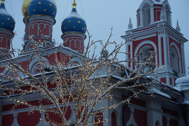 Illuminazione di Natale a Mosca fotografia stock