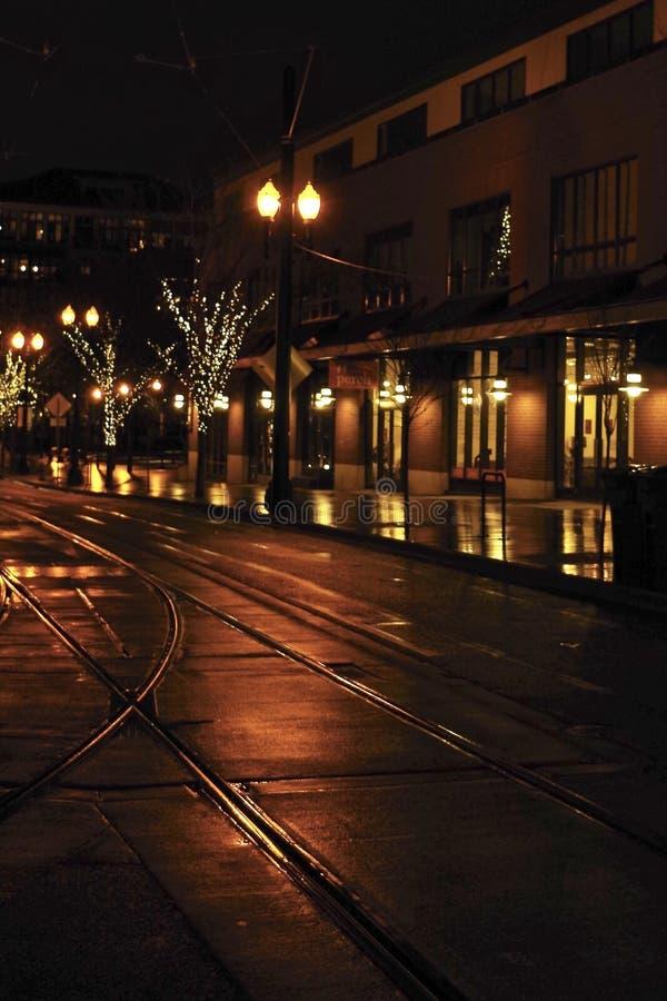 Illuminazione di Natale a Portland, Oregon, U.S.A. fotografia stock libera da diritti
