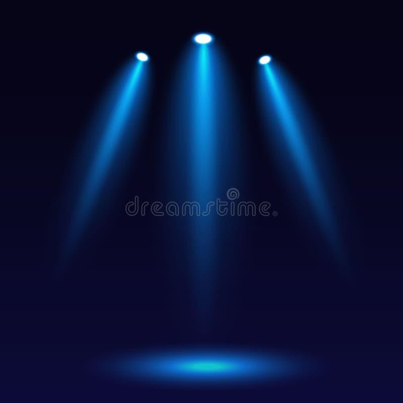 Illuminazione di scena, su un fondo scuro Illuminazione luminosa con tre riflettori Riflettore in scena per progettazione del sit illustrazione vettoriale