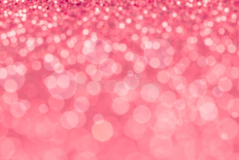 Illuminazione rosa dolce del bokeh della sfuocatura astratta dalla struttura di scintillio immagini stock