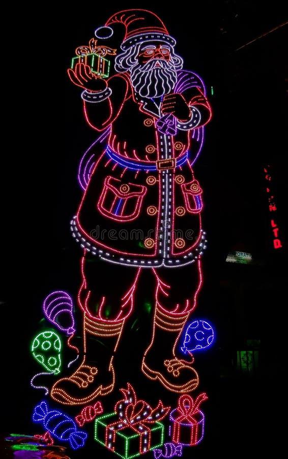 Illuminazione scura di Santa Claus immagine stock libera da diritti