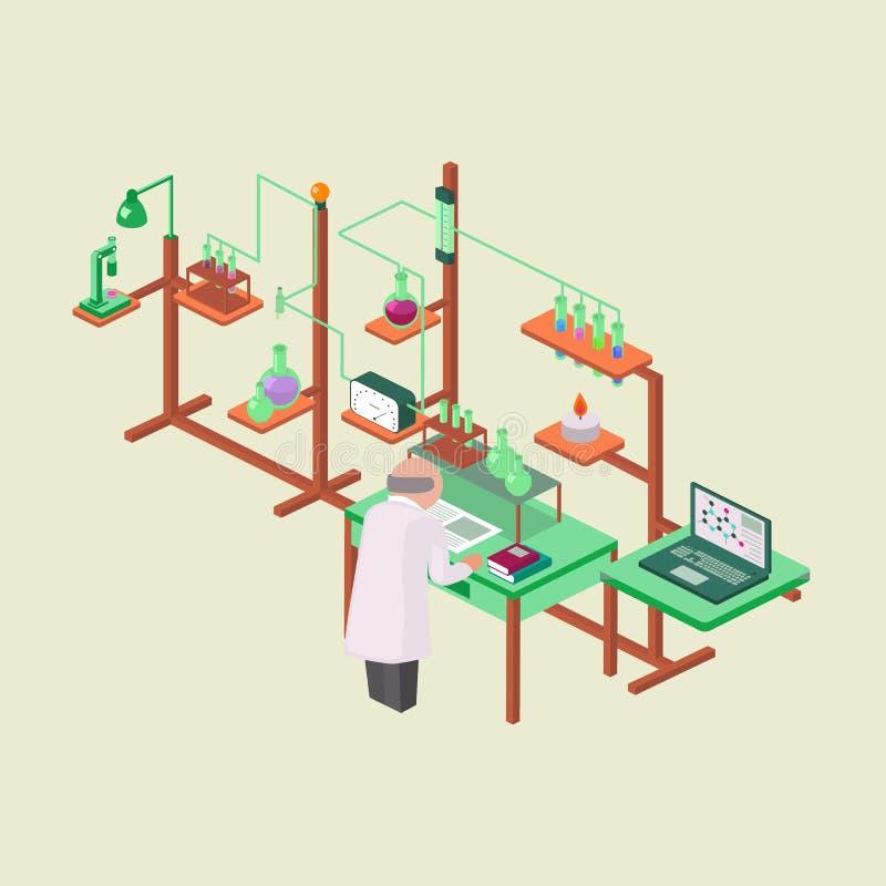 Illus вектора дизайна стиля лабораторных исследований химическое равновеликое иллюстрация штока