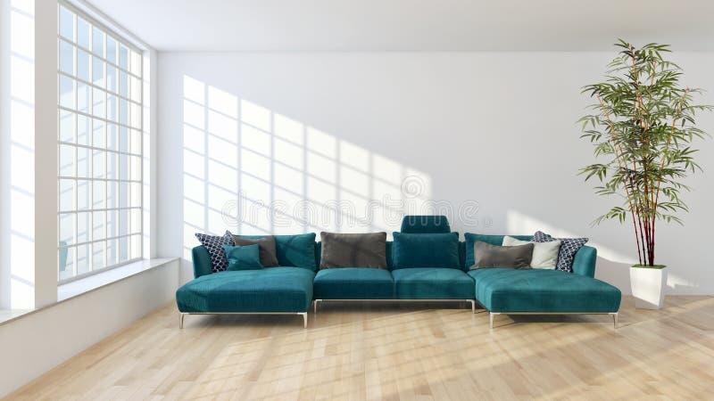 Illus brilhante moderno da rendição da sala de visitas 3D do apartamento dos interiores fotos de stock