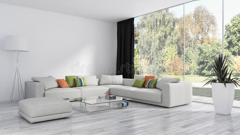 Illus brillante moderno de lujo grande de la sala de estar del apartamento de los interiores libre illustration