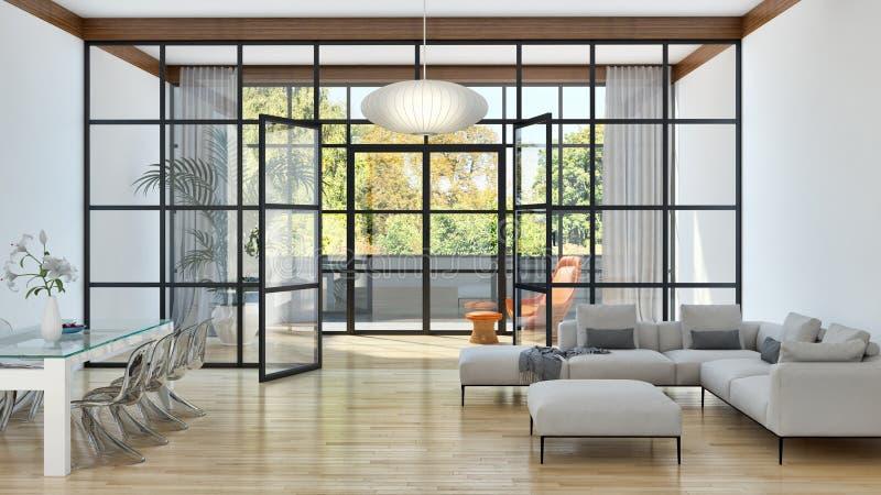 Illus brillante moderno de lujo grande de la sala de estar del apartamento de los interiores foto de archivo libre de regalías