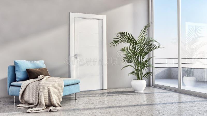 Illus brillante moderno de lujo grande de la sala de estar del apartamento de los interiores ilustración del vector
