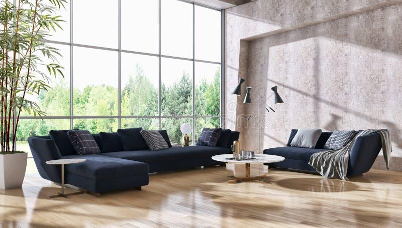 Illus brillante moderno de lujo grande de la sala de estar del apartamento de los interiores stock de ilustración