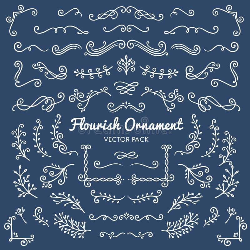 Illus determinado del diseño de los ornamentos del Flourish del vector caligráfico de los elementos ilustración del vector