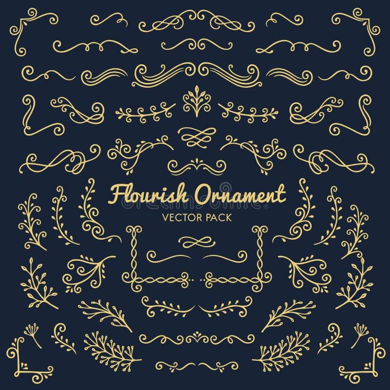 Illus determinado del diseño de los ornamentos del Flourish del vector caligráfico de los elementos libre illustration
