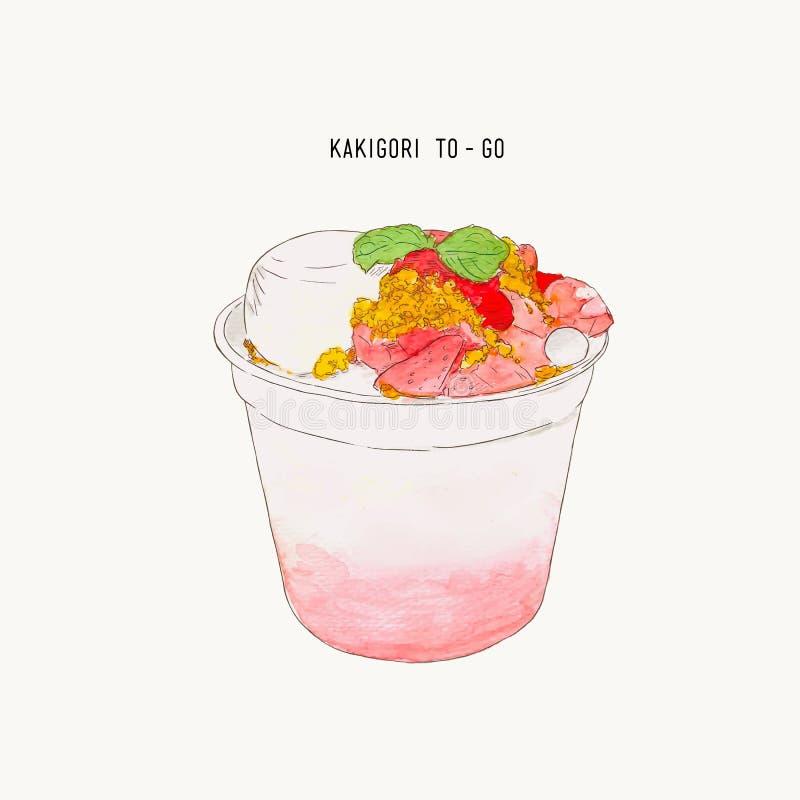Illus dibujado mano del color de agua del kakigori de la migaja del pudín de la fresa libre illustration