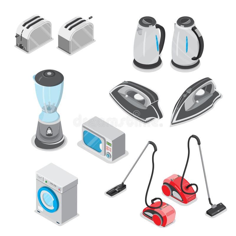 Illus isometrico piano 3d dell'elettrodomestico di elettronica royalty illustrazione gratis