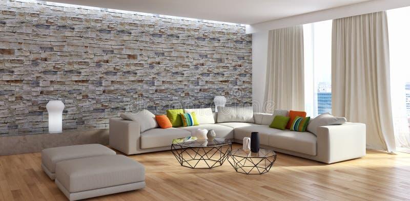 Illus luminoso moderno della rappresentazione del salone 3D dell'appartamento degli interni immagini stock
