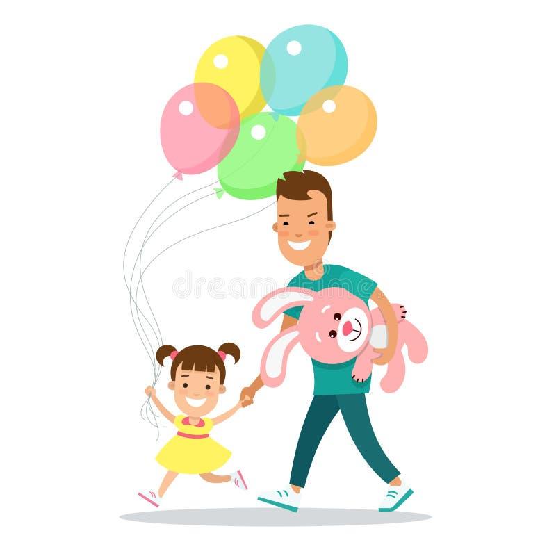 Illus plano del parenting del padre de los niños de la familia stock de ilustración