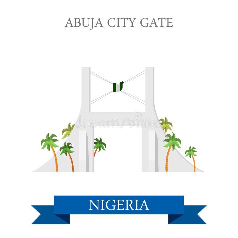 Illus storico piano di vettore della Nigeria del portone della città di Abuja illustrazione di stock