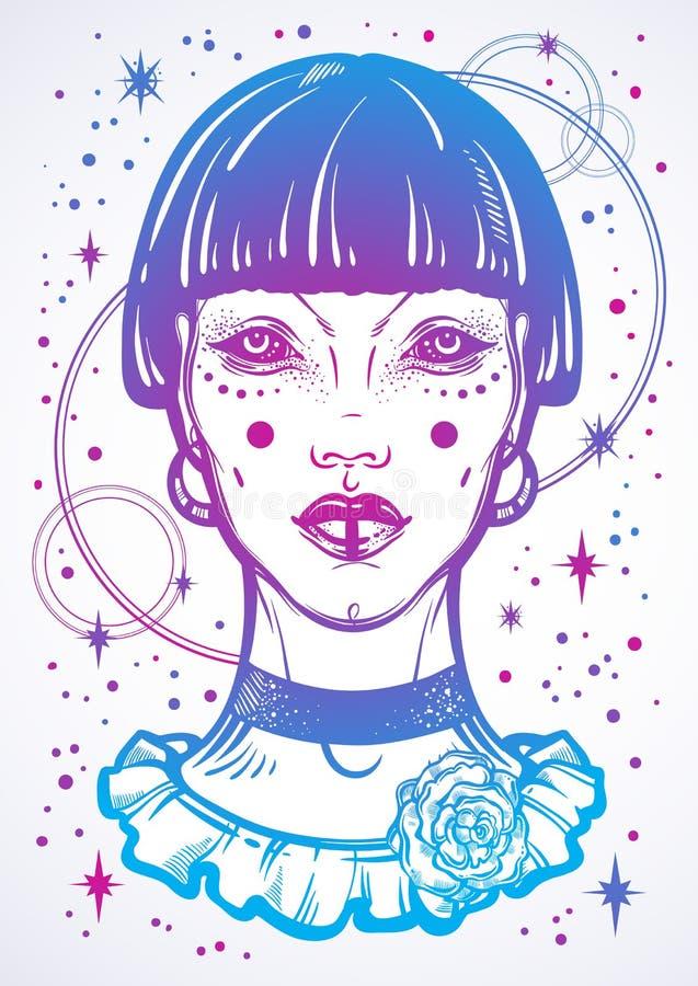 Illusatration av en gotisk flicka för mystiker utan ögon Hög-specificerat isolerat vektorkonstverk i linjär stil Härlig häxa stock illustrationer
