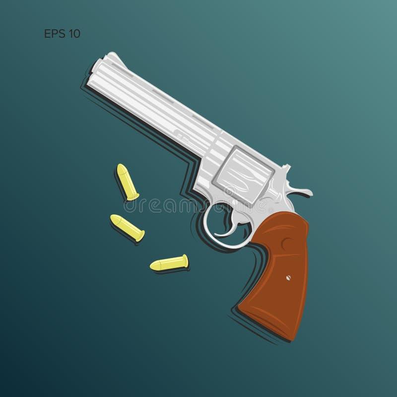 Illusatration de vecteur de revolver de magnum de vintage illustration stock