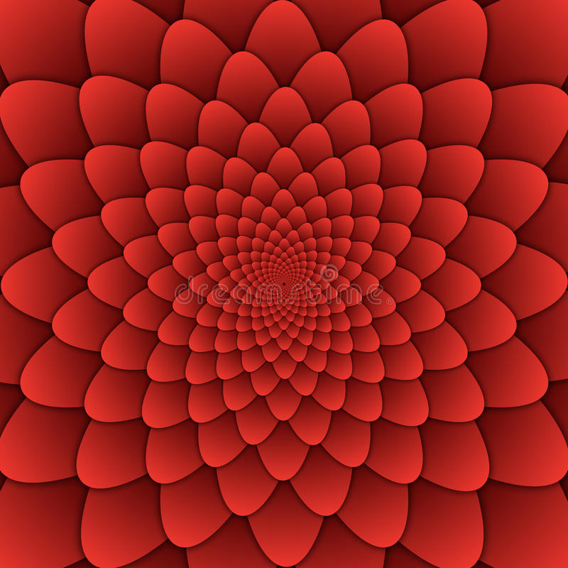 Illusion art abstract flower mandala decorative pattern red background square stock illustration