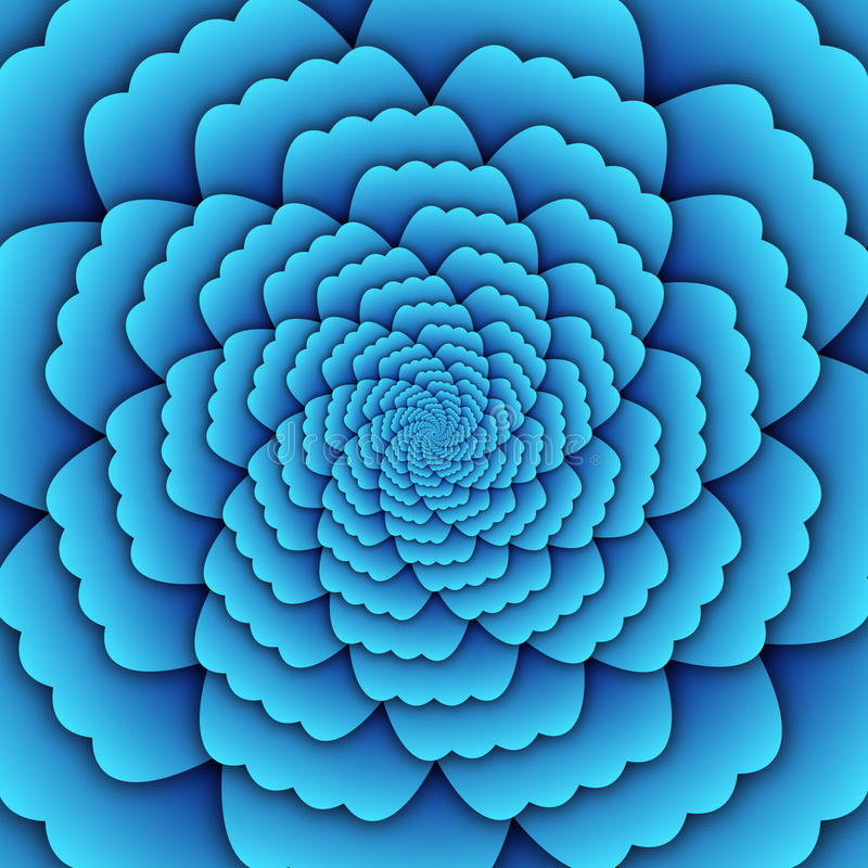 Illusion art abstract flower mandala decorative pattern sky blue background square. Abstract flower mandala decorative pattern sky blue Illusion art background royalty free illustration