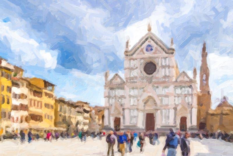 Illusion de basilique de croix sainte à Florence images stock